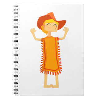 Little Barefoot Girl Wearing A Poncho And Cowboy H Notebooks