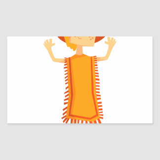 Little Barefoot Girl Wearing A Poncho And Cowboy H Rectangular Sticker