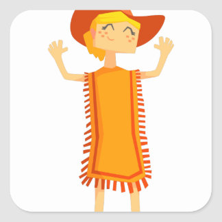 Little Barefoot Girl Wearing A Poncho And Cowboy H Square Sticker