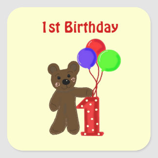 Little Bear First Birthday Square Sticker