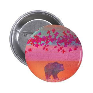 Little bear in the colorful field, leaf, colors 6 cm round badge