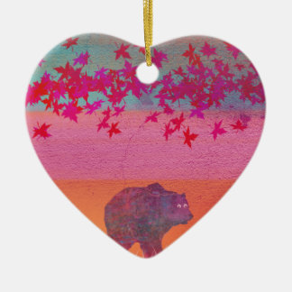 Little bear in the colorful field, leaf, colors ceramic heart decoration