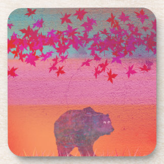 Little bear in the colorful field, leaf, colors drink coasters