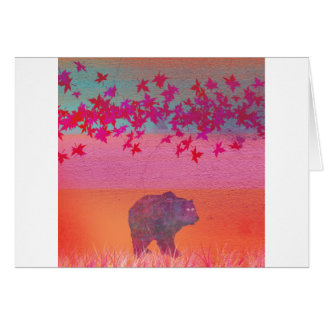 Little bear in the colorful field, leaf, colors greeting card