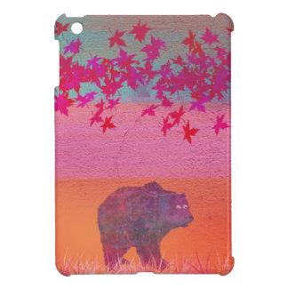 Little bear in the colorful field, leaf, colors iPad mini case