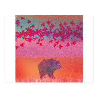 Little bear in the colorful field, leaf, colors postcard