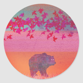 Little bear in the colorful field, leaf, colors round sticker