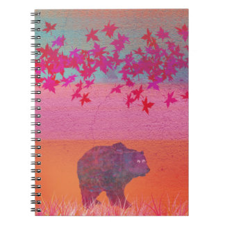 Little bear in the colorful field, leaf, colors spiral note book