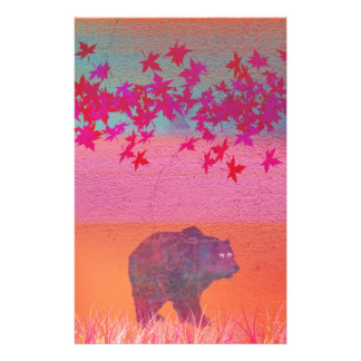 Little bear in the colorful field, leaf, colors stationery design