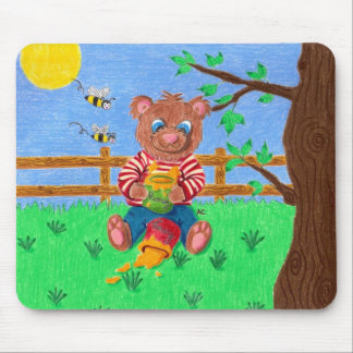 Little bear with honey kid mousepad
