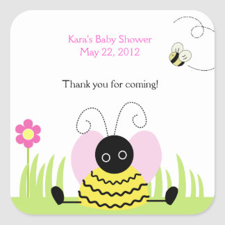 Little Bee Bumble Bees SQUARE Favor Sticker