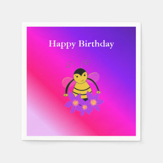 Little Bee Happy Birthday Disposable Serviettes