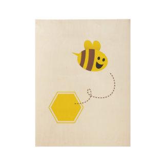 Little bee on wood / Yellow Wood Poster