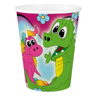 little best friends - unicorn and dragon paper cup
