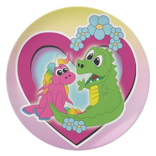 little best friends - unicorn and dragon plate