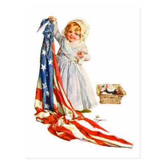 Little Betsy Ross and the America Flag Postcard