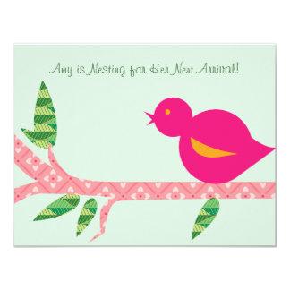 Little Bird Baby Shower - Pink Patterns Announcement