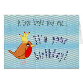 Little Bird: Happy Birthday Card in blue