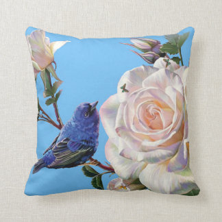 Little Bird On Rose Bush. Cushion