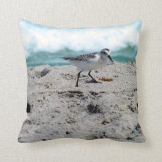 Little Bird on the Seashore Throw Pillow
