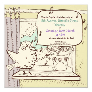 Little Bird Told Me kids Birthday Party Invitation
