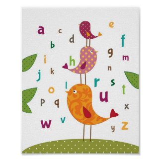 Little birdie alphabets nursery art poster