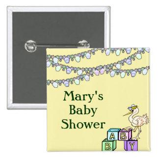 Little Birdie Baby Shower In Yellow Pinback Button