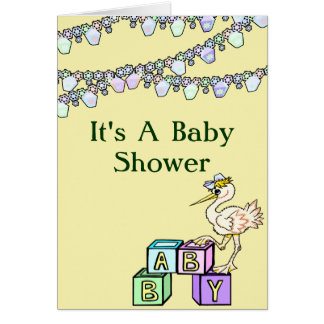 Little Birdie Baby Shower In Yellow Note Card