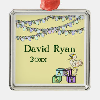 Little Birdie Baby Shower In Yellow Silver-Colored Square Decoration