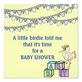 Little Birdie Baby Shower In Yellow 13 Cm X 13 Cm Square Invitation Card