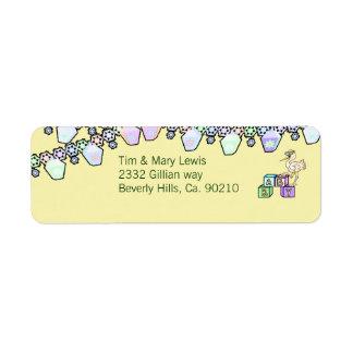 Little Birdie Baby Shower In Yellow Return Address Label