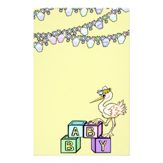Little Birdie Baby Shower In Yellow Personalised Stationery