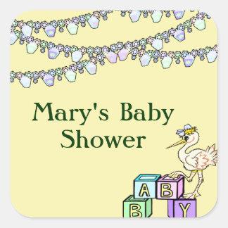 Little Birdie Baby Shower In Yellow Square Sticker