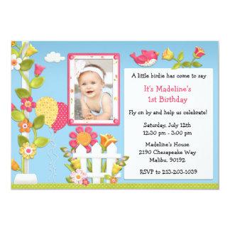 Little Birdie Birthday Party Invitation with Photo