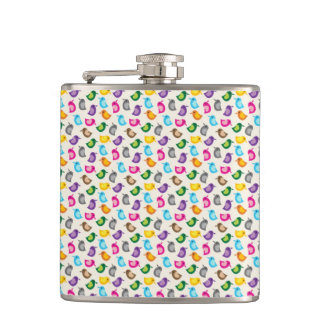 Little Birdie Pink and Blue Whimsical Girly Hip Flask