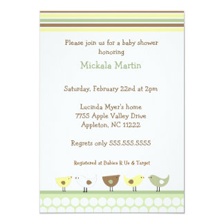 Little Birds Baby Shower Invitation neutral