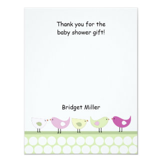 Little Birds Baby Shower Thank You Note 11 Cm X 14 Cm Invitation Card