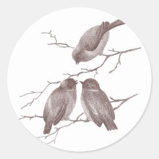 Little Birds Chatting on a Winter Branch Sepia Round Sticker
