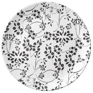 Little Black Flowers Plate