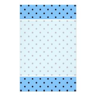 Little black stars on a light blue background. 14 cm x 21.5 cm flyer
