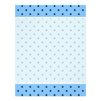 Little black stars on a light blue background. 21.5 cm x 28 cm flyer