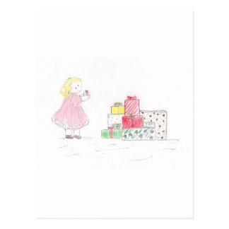 Little Blonde Girl with Presents Postcards