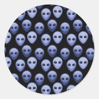 Little Blue Alien Heads Round Sticker