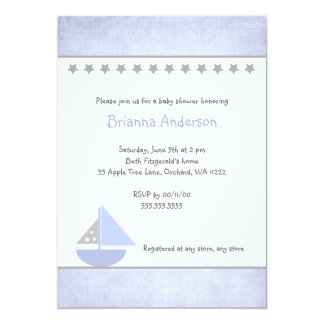 Little Blue and Grey Sailboat Baby Shower Invite