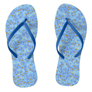 Little blue and yellow flowers thongs