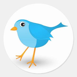 Little Blue Bird Cute Round Stickers