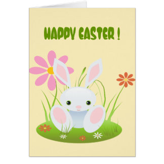 Little Blue Bunny In The Grass Card