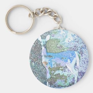 Little Blue Deer Basic Round Button Key Ring