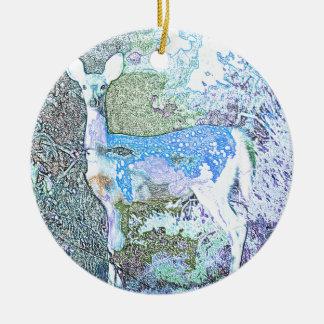 Little Blue Deer Round Ceramic Decoration