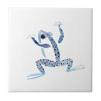 Little Blue Frog Small Square Tile